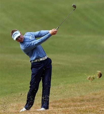 GOTENBA, JAPAN - NOVEMBER 15:  Brendan Jones of Australia hits his approach shot on the 1st hole during the third round of Mitsui Sumitomo Visa Taiheiyo Masters at Taiheiyo Club on November 15, 2008 in Gotenba, Shizuoka, Japan.  (Photo by Koichi Kamoshida/Getty Images)