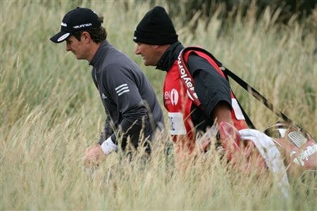 SOUTHPORT, UNITED KINGDOM - JULY 19:  Justin Rose of England walks to the 2nd tee with his caddie Mark Fulcher during the third round of the 137th Open Championship on July 19, 2008 at Royal Birkdale Golf Club, Southport, England.  (Photo by Andy Lyons/Getty Images)