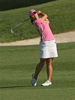 RANCHO MIRAGE, CA - APRIL 3:  Angela Park of Brazil hits her second shot on the 16th hole during the first round of the Kraft Nabisco Championship at Mission Hills Country Club on April 3, 2008 in Rancho Mirage, California.  (Photo by Stephen Dunn/Getty Images)