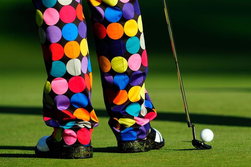 CHASKA, MN - AUGUST 12:  A detailed view of John Daly's pants and shoes as seen during the third preview day of the 91st PGA Championship at Hazeltine National Golf Club on August 12, 2009 in Chaska, Minnesota.  (Photo by Sam Greenwood/Getty Images)