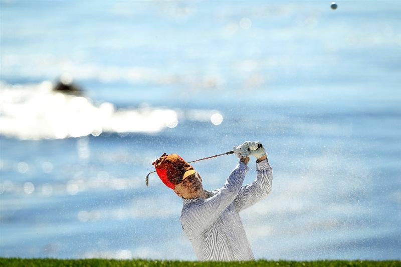 PEBBLE BEACH, CA - FEBRUARY 12:  Actor Bill Murray hits out of the bunker on the 8th hole during the third round of the AT&T Pebble Beach National Pro-Am at the Pebble Beach Golf Links on February 12, 2011 in Pebble Beach, California.  (Photo by Ezra Shaw/Getty Images)