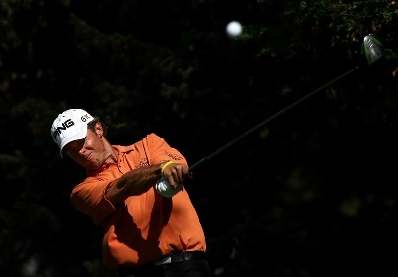 BOISE , ID - SEPTEMBER 14: Chris Tidland tees off on the 2nd hole during the final round of the Albertson's Boise Open at the Hillcrest Country Club on September 14, 2008 in Boise, Idaho.  (Photo by Jonathan Ferrey/Getty Images)