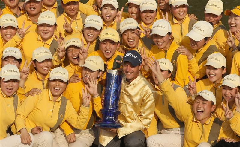 CHENGDU, CHINA - APRIL 24:  Nicolas Colsaerts of Belgium celebrates with the trophy after winning the Volvo China Open at Luxehills Country Club on April 24, 2011 in Chengdu, China.  (Photo by Ian Walton/Getty Images)