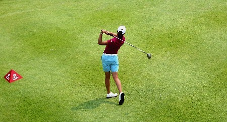 SINGAPORE - FEBRUARY 28:  Lorena Ochoa of Mexico  tees off on the par four 18th hole  during the first round of the HSBC Women's Champions at the Tanah Merah Country Club on February 28, 2008 in Singapore.  (Photo by Ross Kinnaird/Getty Images)