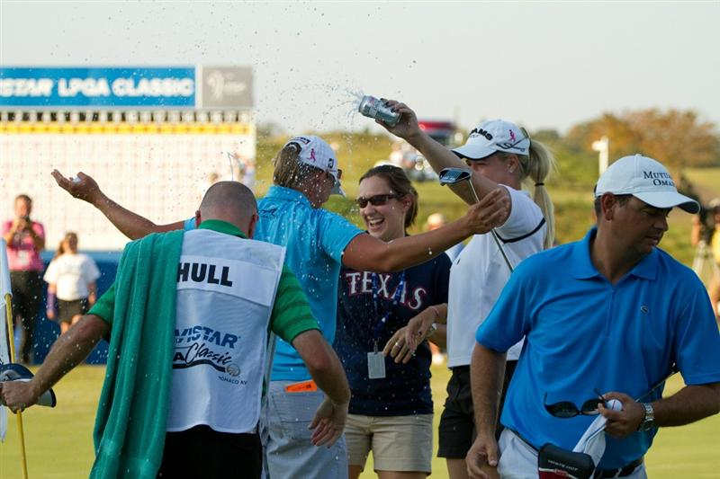 PRATTVILLE, AL - OCTOBER 10: Katherine Hull of Australia celebrates with Brittany Lincicome after winning the Navistar LPGA Classic at the Senator Course at the Robert Trent Jones Golf Trail on October 10, 2010 in Prattville, Alabama. (Photo by Darren Carroll/Getty Images)
