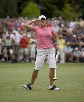 PORTLAND, OR - AUGUST 24: Cristie Kerr reacts to sinking birdie putt to win in a playoff at the 18th hole, during the final round of the LPGA Safeway Classic at the Columbia Edgewater Country Club on August 24, 2008 in Portland, Oregon. (Photo by Steven Gibbons/Getty Images)