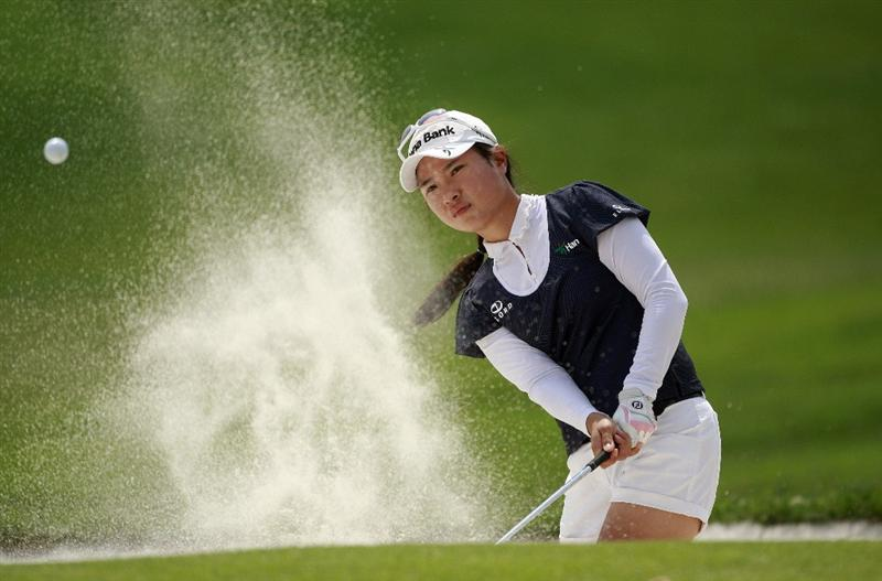 ROGERS, AR - SEPTEMBER 11: Hee Young Park hits from the sand on the 8th hole during first round play in the P&G Beauty NW Arkansas Championship at the Pinnacle Country Club on September 11, 2009 in Rogers, Arkansas.  (Photo by Dave Martin/Getty Images)