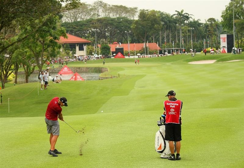 SINGAPORE - MARCH 07:  Katherine Hull of Australia hits her second shot on the ninth hole during the third round of the HSBC Women's Champions at Tanah Merah Country Club on March 7, 2009 in Singapore.  (Photo by Andrew Redington/Getty Images)