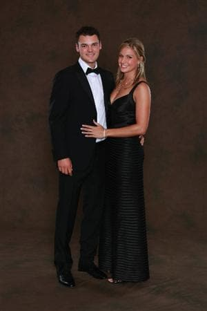 NEWPORT, WALES - SEPTEMBER 29:  Martin Kaymer of the European Ryder Cup team poses with partner Allison Micheletti prior to the 2010 Ryder Cup Dinner at the Celtic Manor Resort on September 29, 2010 in Newport, Wales.  (Photo by David Cannon/Getty Images)