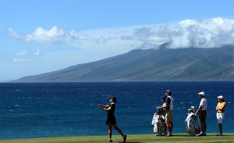 KAPALUA, HI - OCTOBER 16: Morgan Pressel of the USA tees off the 5th hole with Molokai in the background during the first round of the Kapalua LPGA Classic on October 16, 2008 at the Bay Course in Kapalua, Maui, Hawaii. (Photo by Donald Miralle/Getty Images)