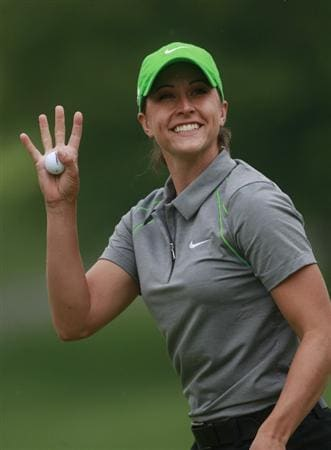 ROGERS, AR - SEPTEMBER 13:  Paige Mackenzie waves after completing her final round play in the P&G Beauty NW Arkansas Championship at the Pinnacle Country Club on September 13, 2009 in Rogers, Arkansas.  (Photo by Dave Martin/Getty Images)