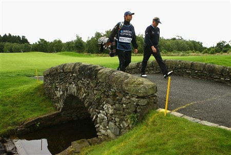 LUSS, UNITED KINGDOM - JULY 10:  Colin Montgomerie of Scotland crosses the bridge on the 13th hole during the First Round of The Barclays Scottish Open at Loch Lomond Golf Club on July 10, 2008 in Luss, Scotland.  (Photo by Matthew Lewis/Getty Images)