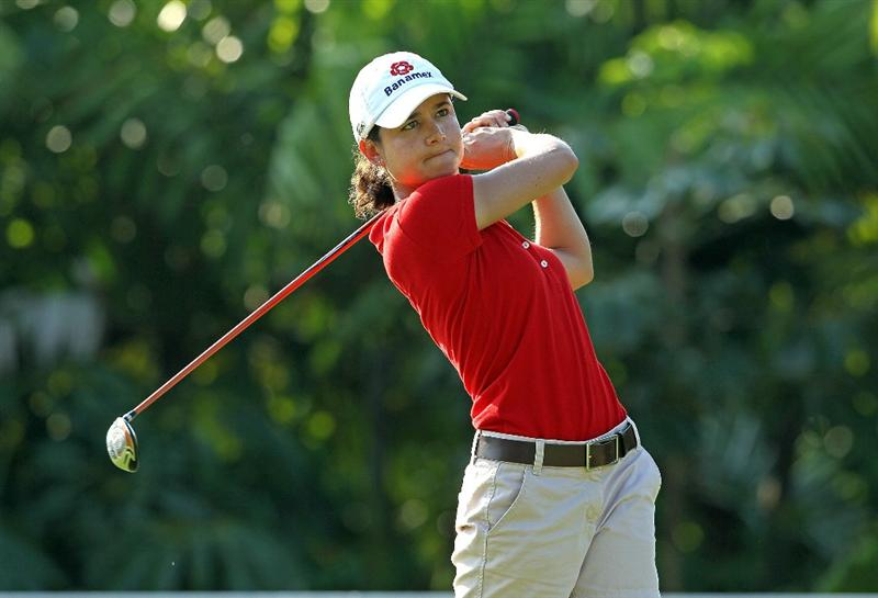 SINGAPORE - FEBRUARY 24:  Lorena Ochoa of Mexico hits a shot during the Pro-Am for the HSBC Women's Champions at Tanah Merah Country Club on February 24, 2010 in Singapore.  (Photo by Andy Lyons/Getty Images)