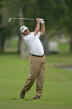 Jose Maria Olazabal hits to the 18th green in the second round of the Ford Championship at Doral in Miami, Florida.