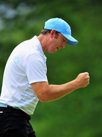 TURIN, ITALY - MAY 09:  Daniel Vancsik of Argentina celebrates his putt on the 12th hole during the third round of the BMW Italian Open at Royal Park I Roveri on May 9, 2009 near Turin, Italy.  (Photo by Stuart Franklin/Getty Images)