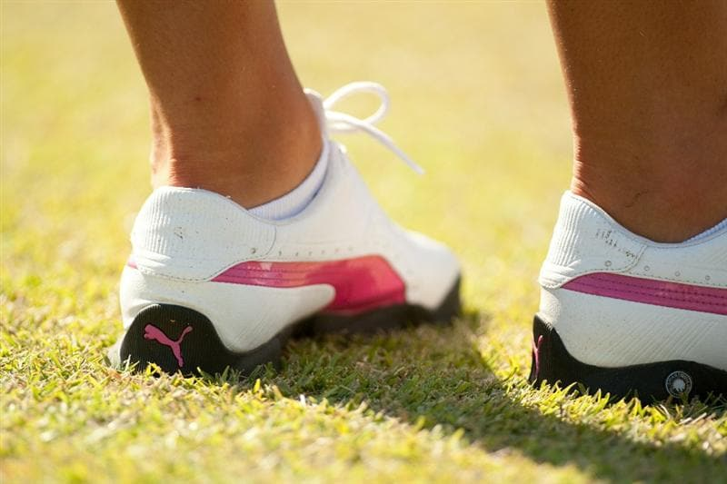 PRATTVILLE, AL - OCTOBER 8: Anna Nordqvist of Sweden wears pink-trimmed shoes to commemorate Breast Cancer Awareness Month during the second round of the Navistar LPGA Classic at the Senator Course at the Robert Trent Jones Golf Trail  on October 8, 2010 in Prattville, Alabama. (Photo by Darren Carroll/Getty Images)
