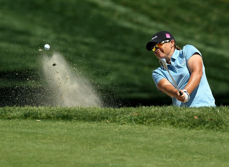RANCHO MIRAGE, CA - APRIL 04:  Karen Stupples of England hits out of a bunker on the 11th hole during the final round of the Kraft Nabisco Championship at Mission Hills Country Club on April 4, 2010 in Rancho Mirage, California.  (Photo by Stephen Dunn/Getty Images)