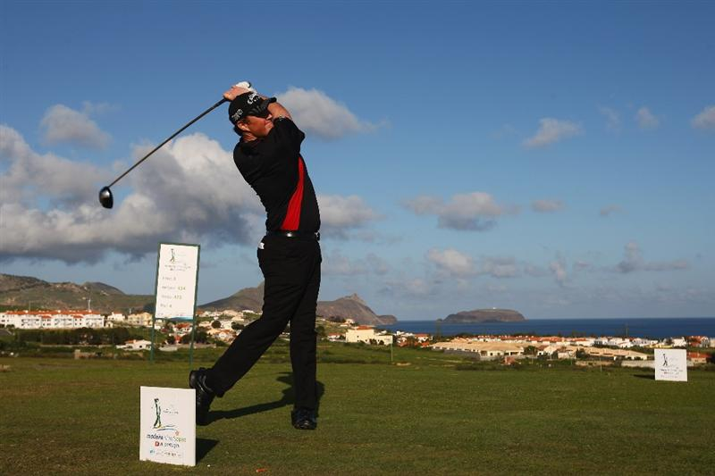 MADEIRA, PORTUGAL - MARCH 20:  Michael McGeady of Ireland tees off from the third during round two of the Madeira Islands Open BPI at the Porto Santo Golfe Club on March 20, 2009 in Porto Santo,Portugal.  (Photo by Michael Steele/Getty Images)