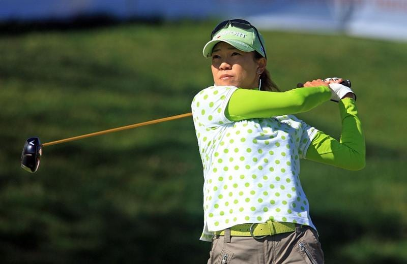 HUIXQUILUCAN, MEXICO - MARCH 22:  Shiho Oyama of Japan watches her tee shot on the tenth hole during the final round of the MasterCard Classic at the BosqueReal Country Club on March 22, 2009 in Huixquiucan, Mexico.  (Photo by Scott Halleran/Getty Images)