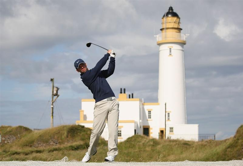 TURNBERRY, SCOTLAND - JULY 14:   Paul Casey of England tees off on the 10th hole during a practice round prior to the 138th Open Championship on the Ailsa Course, Turnberry Golf Club on July 14, 2009 in Turnberry, Scotland.  (Photo by Ross Kinnaird/Getty Images)