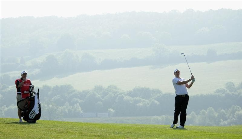 NEWPORT, WALES - JUNE 03:  Stephen Gallacher of Scotland plays his second shot on the 16th hole during the first round of the Celtic Manor Wales Open on The Twenty Ten Course at The Celtic Manor Resort on June 3, 2010 in Newport, Wales.  (Photo by Andrew Redington/Getty Images)