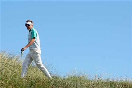 SOUTHPORT, UNITED KINGDOM - JULY 15:  Ian Poulter of England walks to the 14th tee during the second practice round of the 137th Open Championship on July 15, 2008 at Royal Birkdale Golf Club, Southport, England. (Photo by Stuart Franklin/Getty Images)