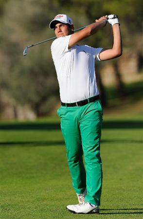 CASTELLON DE LA PLANA, SPAIN - OCTOBER 24:  Matteo Manassero of Italy plays his approach shot on the 15th hole during the final round of the Castello Masters Costa Azahar at the Club de Campo del Mediterraneo on October 24, 2010 in Castellon de la Plana, Spain.  (Photo by Stuart Franklin/Getty Images)