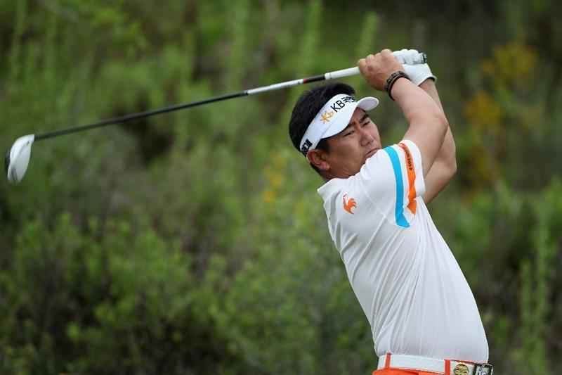 CASARES, SPAIN - MAY 20:  Y.E. Yang of Korea tees off on the third hole during the group stages of the Volvo World Match Play Championships at Finca Cortesin on May 20, 2011 in Casares, Spain.  (Photo by Warren Little/Getty Images)