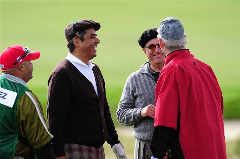 PEBBLE BEACH, CA - FEBRUARY 11:  (L-R) Actors George Lopez, Andy Garcia and Bill Murray share a laugh during round one of the AT&T Pebble Beach National Pro-Am at Monterey Peninsula Country Club Shore Course on February 11, 2010 in Pebble Beach, California.  (Photo by Stuart Franklin/Getty Images)