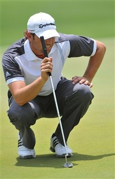 MEMPHIS, TN - JUNE 05:  Sergio Garcia tees lines up a par putt on the par three 4th  hole during the first round of the Standford St. Jude Championship on June 5, 2008 at the TPC Southwind in Memphis, Tennessee.  (Photo by Marc Feldman/Getty Images)