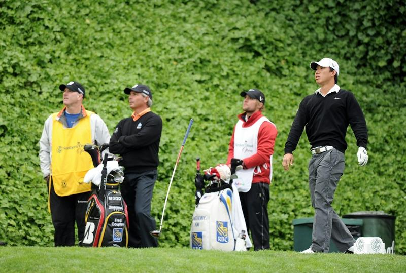 PACIFIC PALISADES, CA - FEBRUARY 18:  Anthony Kim loses his club after his shot on the seventh hole during the second round of the Northern Trust Open at the Riviera Country Club on February 18, 2011 in Pacific Palisades, California.  (Photo by Harry How/Getty Images)