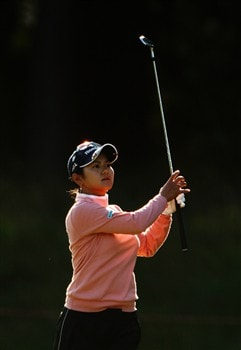 SUNNINGDALE, UNITED KINGDOM - AUGUST 01:  Ai Miyazato of Japan plays her second shot into the third green during the second round of the 2008 Ricoh Women's British Open held on the Old Course at Sunningdale Golf Club on August 1, 2008 in Sunningdale, England.  (Photo by Warren Little/Getty Images)