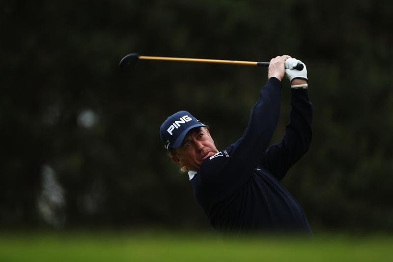 VIRGINIA WATER, ENGLAND - MAY 27:  Miguel Angel Jimenez of Spain tees off during the second round of the BMW PGA Championship at the Wentworth Club on May 27, 2011 in Virginia Water, England.  (Photo by Warren Little/Getty Images)