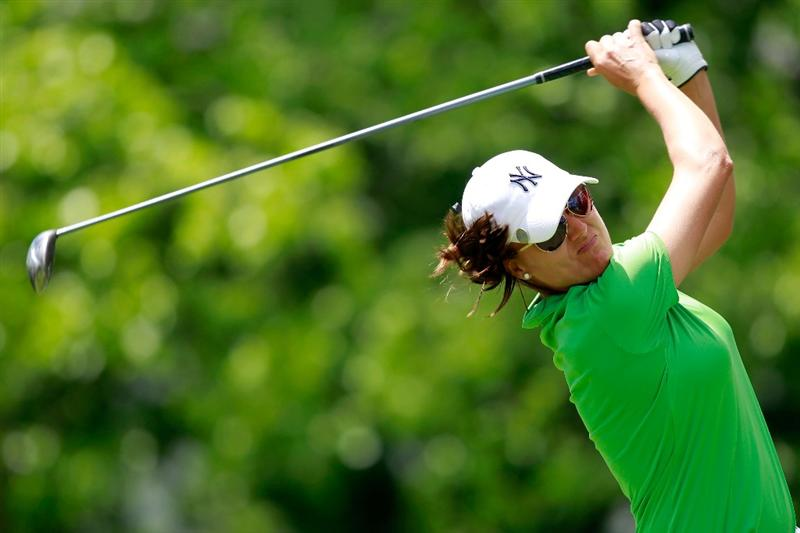 GLADSTONE, NJ - MAY 21: Sophie Gustafson of Sweden hits her tee shot on the tenth hole in round three of the Sybase Match Play Championship at Hamilton Farm Golf Club on May 20, 2011 in Gladstone, New Jersey.  (Photo by Chris Trotman/Getty Images)