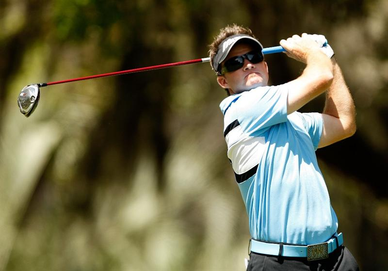 HILTON HEAD ISLAND, SC - APRIL 18:  Brian Gay watches his tee shot on the 2nd hole during the third round of the Verizon Heritage at Harbour Town Golf Links on April 18, 2009 in Hilton Head Island, South Carolina.  (Photo by Streeter Lecka/Getty Images)