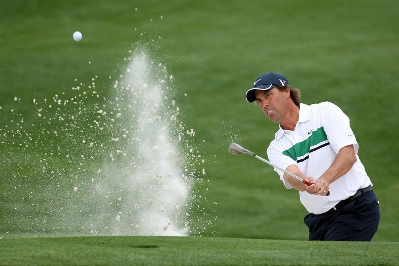 AUGUSTA, GA - APRIL 10:  Stephen Ames of Canada plays a bunker shot on the 16th hole during the second round of the 2009 Masters Tournament at Augusta National Golf Club on April 10, 2009 in Augusta, Georgia.  (Photo by David Cannon/Getty Images)