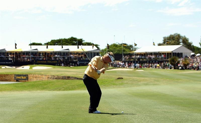 PERTH, AUSTRALIA - FEBRUARY 22:  Ross McGowan of England plays an approach shot during round four of the 2009 Johnnie Walker Classic at The Vines Resort and Country Club on February 22, 2009 in Perth, Australia.  (Photo by Ian Walton/Getty Images)
