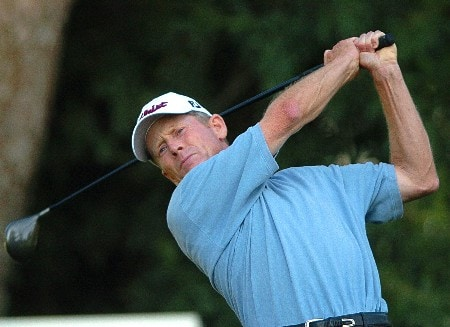 Mike Reid follows through on his tee shot from the 15th hole during the second round of the Champions' Tour 2005 SBC Classic at  the Valencia Country Club in Valencia, California March 12, 2005.