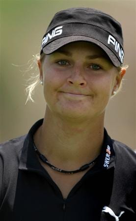 MORELIA, MEXICO- APRIL 23:  Anna Nordqvist of Sweden is shown on the ninth hole during the first round of the 2009 Corona Championship, part of the LPGA Tour, on April 23, 2009 at the Tres Marias Golf Club in Morelia, Michoacan, Mexico. Nordqvist birdied the hole and finished the day at 6-under par.  (Photo by Donald Miralle/Getty Images)
