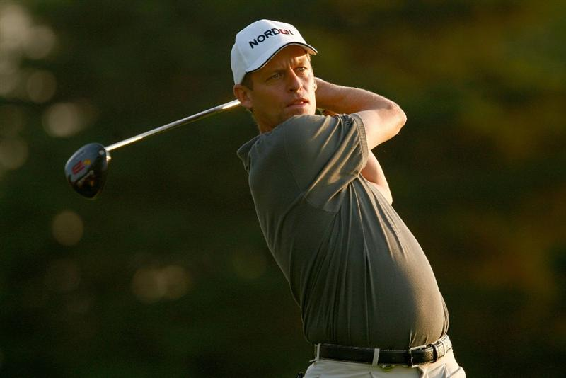 CHASKA, MN - AUGUST 11:  Anders Hansen of Denmark hits a shot during the second preview day of the 91st PGA Championship at Hazeltine Golf Club on August 11, 2009 in Chaska, Minnesota.  (Photo by Scott Halleran/Getty Images)