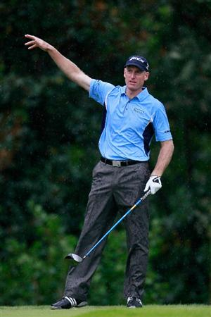 ATLANTA - SEPTEMBER 26:  Jim Furyk signals for an errant tee shot off the eighth hole during the final round of THE TOUR Championship presented by Coca-Cola at East Lake Golf Club on September 26, 2010 in Atlanta, Georgia.  (Photo by Kevin C. Cox/Getty Images)