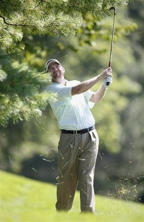 GRAND BLANC, MI - JULY 31: Troy Matteson watches his shot to the 18th green during the second round of the Buick Open at Warwick Hills Golf and Country Club on July 31, 2009 in Grand Blanc, Michigan.  (Photo by Gregory Shamus/Getty Images)