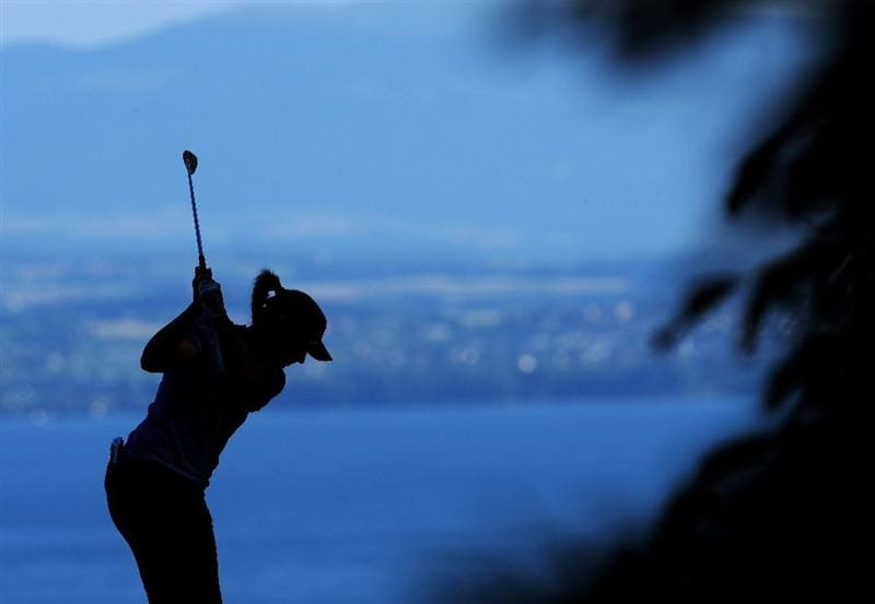 EVIAN-LES-BAINS, FRANCE - JULY 26:   Angela Stanford of USA plays her tee shot on the second hole during the final round of the Evian Masters at the Evian Masters Golf Club on July 26, 2009 in Evian-les-Bains, France.  (Photo by Stuart Franklin/Getty Images)