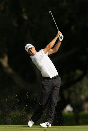 SOTOGRANDE, SPAIN - OCTOBER 28:  Martin Kaymer of Germany plays into the 7th green during the first round of the Andalucia Valderrama Masters at Club de Golf Valderrama on October 28, 2010 in Sotogrande, Spain.  (Photo by Richard Heathcote/Getty Images)