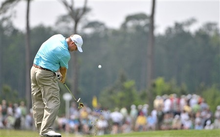 HUMBLE, TX - APRIL 06:  Chad Campbell hits his approach shot into the 2nd hole during the final round of the Shell Houston Open at Redstone Golf Club April 6, 2008 in Humble, Texas.  (Photo by Marc Feldman/Getty Images)