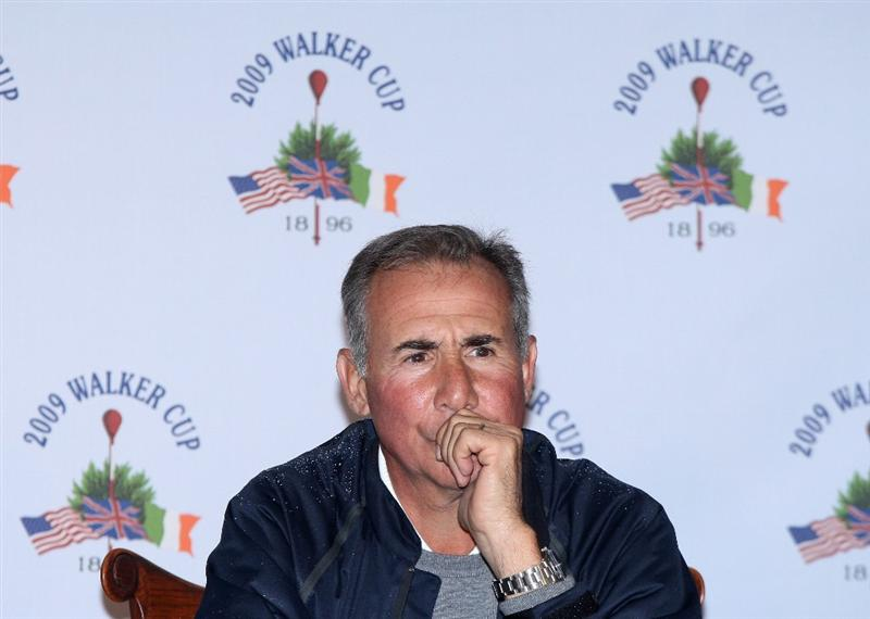 ARDMORE, PA - SEPTEMBER 11:  Buddy Marucci the USA Team Captain talks to the media during practice on the East Course at Merion Golf Club on September 11, 2009 in Ardmore, Pennsylvania  (Photo by David Cannon/Getty Images)