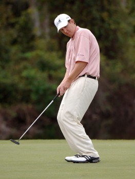 J. J. Henry looks at a birdie putt on the 17th green during the second round of the 2005 Funai Classic at World Disney World Resort in Lake Buena Vista, Florida on October 21, 2005.Photo by Al Messerschmidt/WireImage.com