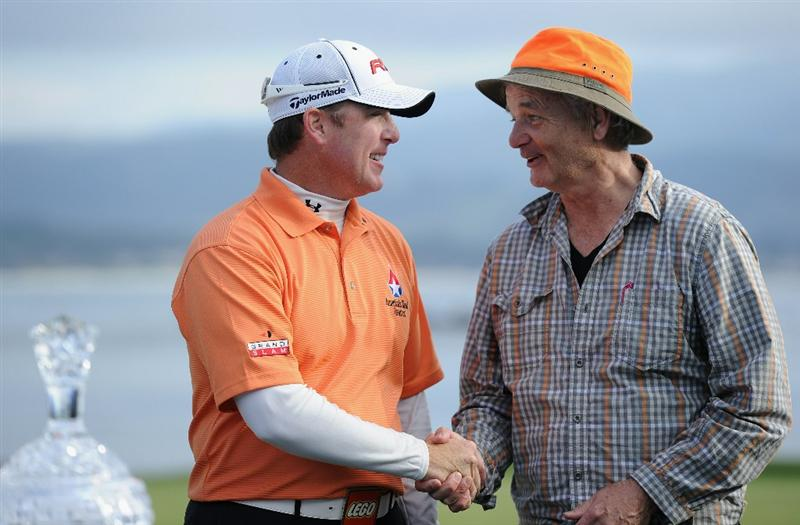 PEBBLE BEACH, CA - FEBRUARY 13:  D.A Points is congratulated by his playing partner actor Bill Murray after the final round of the AT&T Pebble Beach National Pro-Am at Pebble Beach Golf Links on February 13, 2011  in Pebble Beach, California.  (Photo by Stuart Franklin/Getty Images)