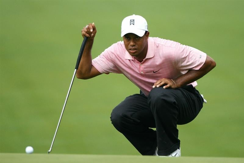 DUBLIN, OH - JUNE 05:  Tiger Woods lines up a putt on the second green during the third round of the Memorial Tournament presented by Morgan Stanley at Muirfield Village Golf Club on June 5, 2010 in Dublin, Ohio.  (Photo by Scott Halleran/Getty Images)