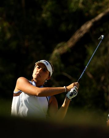 MELBOURNE, AUSTRALIA - MARCH 12: Alexis Thompson of the USA plays her tee shot on the 15th hole during round two of the 2010 Women's Australian Open at The Commonwealth Golf Club on March 12, 2010 in Melbourne, Australia.  (Photo by Mark Dadswell/Getty Images)